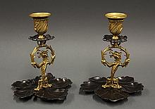 Pair of  Regency style dore bronze candle holders