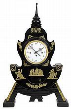 Biedermeier black ebonized mantle clock