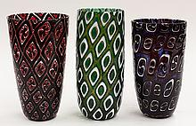 (lot of 3) Art glass vases by Michael Nourot