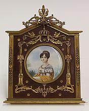 Framed porcelain miniature plaque depicting Hortense