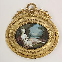 Framed miniature portrait plaque depicting Victoris