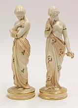 Pair of Royal Worcester porcelain figural sculptures