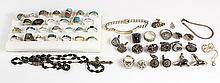(Lot of approximately 46) Gem, silver and miscellaneous jewelry