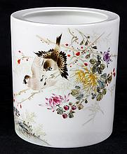 Chinese Enamel Porcelain Brush Pot