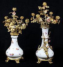 Pair of Meissen dore bronze mounted porcelain five-light candelabra