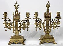 Pair of Gothic Revival bronze candelabra