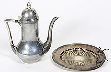Dutch .925 silver chocolate pot; together with a Gorham sterling silver bread plate mounted with knife rest, 12.64 troy oz.