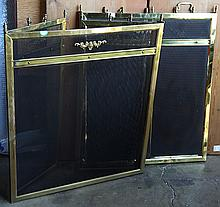 Pair of Neoclassical style brass fire screens, each having scroll medallions, 30