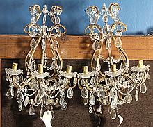Pair of Continental crystal and gilt wall sconces