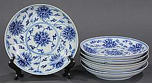 Six Chinese Blue and White Plates, Flowers