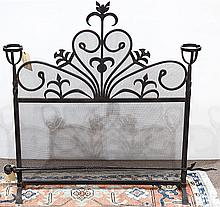 Spanish Revival wrought iron fire screen