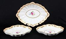 (lot of 3) Derby porcelain serving dishes in the 'Prince of Wales' pattern
