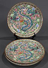 Chinese Export Plates, Dragon/ Phoenix
