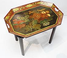 Regency tole decorated tray on stand