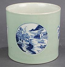 Chinese Celadon Ground Underglaze Blue Brush Pot