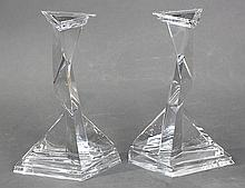 Pair of crystal Dali limited edition Castor and Pollux candle stands by Baccarat