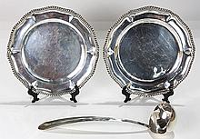 Mexican L. Maciel sterling silver service plates, and punch ladle, 45.61 troy oz.