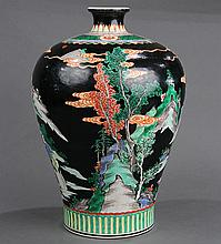 Chinese Famille Noire Vase, Figures