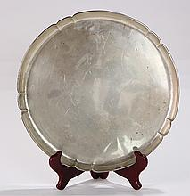 Randahl sterling silver hand-wrought circular tray with pinched accents, 12