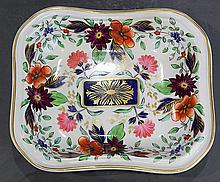 English Derby hand painted porcelain dish, executed in the Asian taste, having a gilt decorated border, centering polychrome floral ...