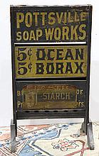 Pottsville Soap Works paint decorated advertising sign, late 19th, early 20th century the top having holes, likely used for holding ...