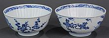 Two Chinese Blue and White Bowls, Flowers