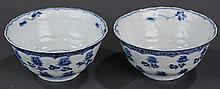 Two Chinese Blue and White Bowls, Flower Petals