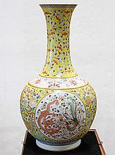 Chinese Yellow Stickneck Vase, Dragon/Phoenix