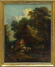 Painting, Wooded Scene with Figures in Horsedrawn Wagon