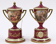 Royal Vienna covered urns