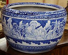 Japanese blue and white porcelain hibachi,