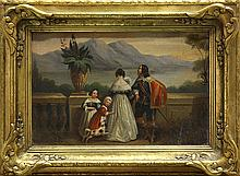 Painting, European School (19th c.), Family Overlooking Lake