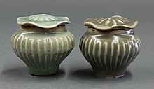 Two Chinese Lotus Leaf Lid Jars