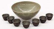 Korean Celadon Bowl/ Asian Wooden Cups