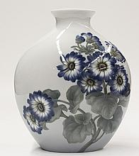 Bing & Grondahl porcelain vase, of pillow form with a pinched neck and a flared rim, the body hand painted with a spray of flowers  ...