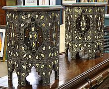 Pair of Middle Eastern hexagonal side tables, having an all over applied floral vining, accented with brass tacks