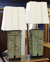 Pair of bronze archiastic style table lamps