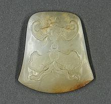 Chinese Jade Plaque, Bat/Chime