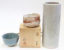 Japanese Tea  Bowls, Shino and Kiyomizu, Vase