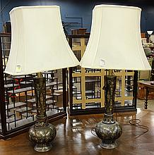 Pair of Asian style patinated brass table lamps