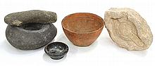 (lot of 4) Pre-Columbian style pots, consisting of a tapered pot with traces of pigment (possibly Peruvian), 3