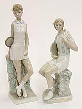 (lot of 2) LLadro porcelain figures of tennis players