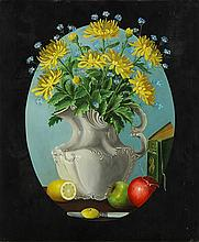 Painting, Still life with flowers, fruit and a book