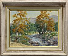 Painting, Autumn trees along a quiet stream