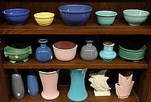 Pottery planters and vases by Jaru, Bauer, Gladding McBean, and McCoy