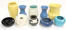 Art pottery flower bowls and vases by Rum Rill, Bauer, and Pacific