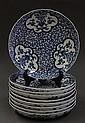Nine Japanese Blue-and-white Imari Dishes, Meiji