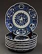 Seven Japanese Blue-and-White Imari Porcelain,  Meiji