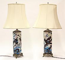 Pair of Mid Century polychrome decorated table lamps