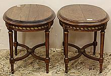 Pair of Neoclassical style partial gilt occasional tables